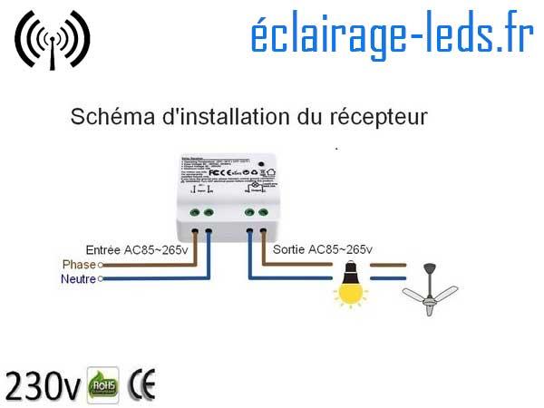 Kit Interrupteur sans fil RF + 2 émetteurs va et vient 200m 2500w 1