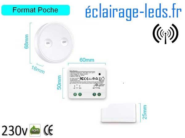 Kit Interrupteur sans fil RF + 2 émetteurs va et vient 200m 2500w 2