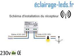 Interrupteur sans fil RF + 1 émetteur 200m 2500w 2