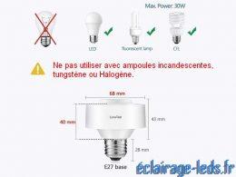 Douille E27 commandée à distance Max 30w pour lampe et ampoule LED 1
