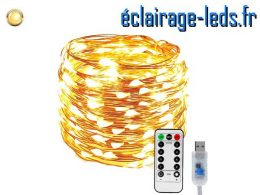 Guirlande LED usb Blanc chaud avec sa télécommande