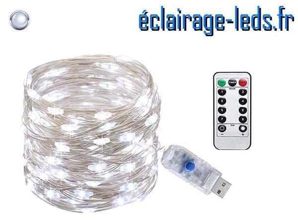 Jolie guirlande LED usb 10m Blanc télécommande