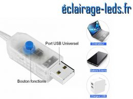 Guirlande LED usb 10m Blanc telecommande 1