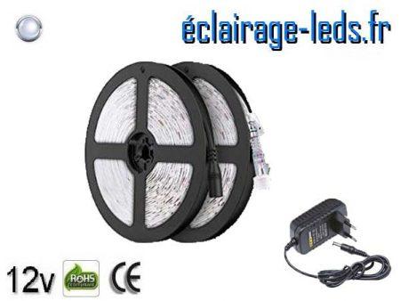 Kit Bandeau LED de 10m couleur Blanc froid IP65 12v DC