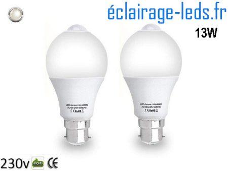 Lot de 2 ampoules LED B22 13 W Capteur de Présence blanc