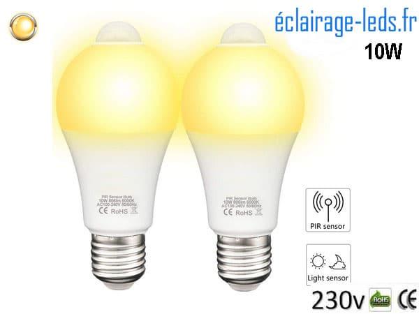 2 ampoules LED E27 10 W avec Capteur de Présence