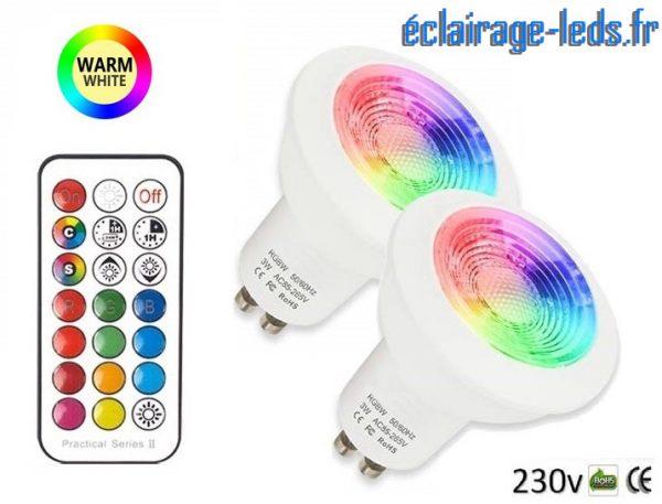 Lot de 2 ampoules LED GU10 RGBWW 3W