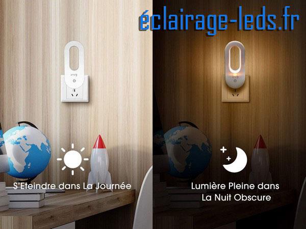 Lot de 2 veilleuses LED automatiques sur prise électrique mod. anneau 230v