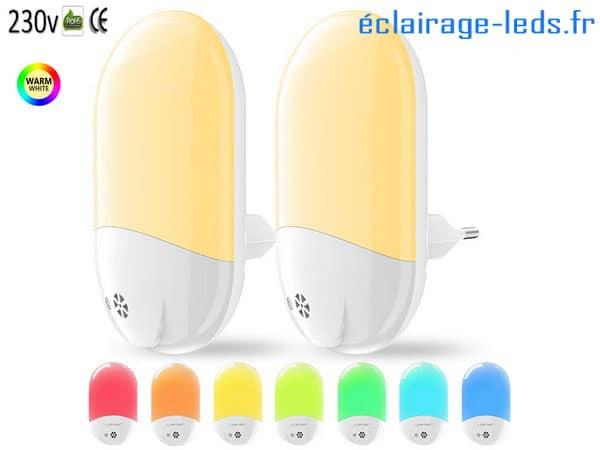 Veilleuses LED crépusculaires sur prise