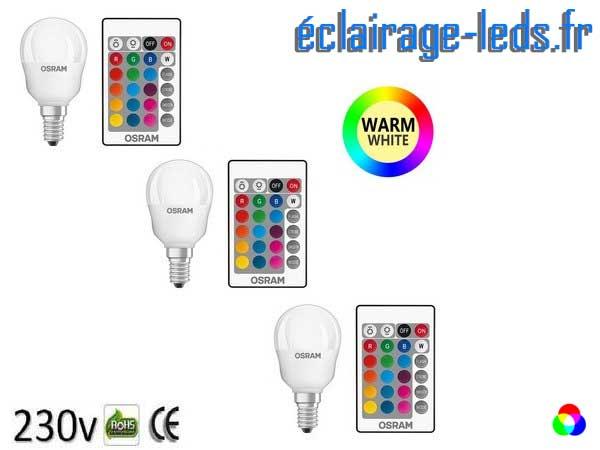 Lot de 3 ampoules LED E14 RGBWW Télécommandée
