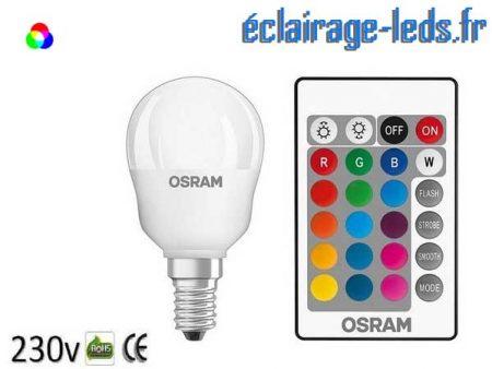 Lot de 3 ampoules LED E14 Blanc Chaud & Couleurs Télécommandée 4,3W 1