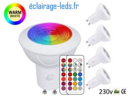 Lot de 4 ampoules LED GU10 RGBWW 3W