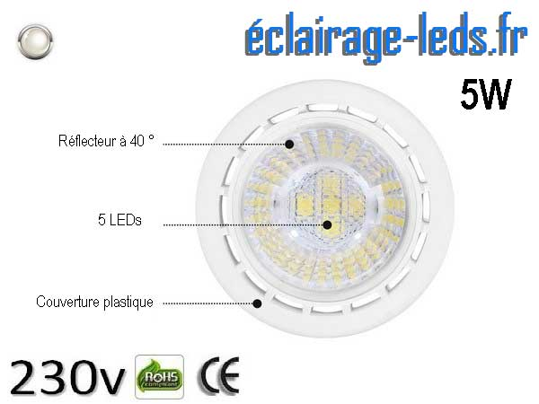 Lot de 5 ampoules led GU10 5W Blanc Naturel 4000K Équiv 45W