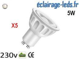 Lot de 5 ampoules led GU10 5W Blanc Naturel 4000K 230v