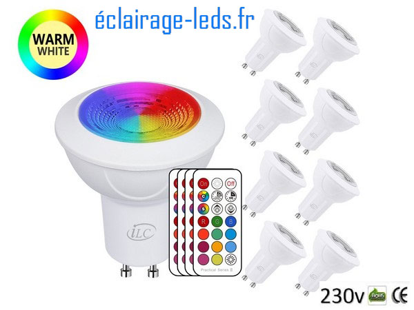 Lot de 8 ampoules à LED GU10 Multi-Couleur 3W