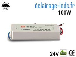 TRANSFORMATEUR LED 24V DC 100 WATTS IP67