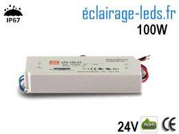 TRANSFORMATEUR LED 24V DC 100 WATTS IP67