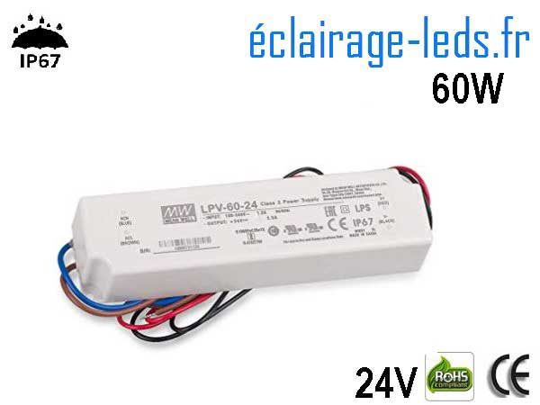 TRANSFORMATEUR LED 24V DC 60 WATTS IP67