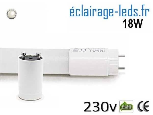 Tube LED T8 18w blanc naturel 1600 Lm 230v AC ref tu18-01