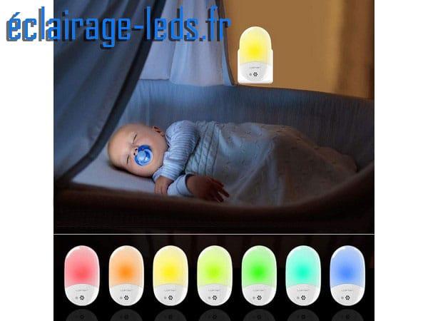 Veilleuse LED crépusculaire Blanc chaud + RGB sur prise 230v