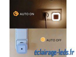 Veilleuse LED crépusculaire Dimmable sur prise blanc chaud 230v