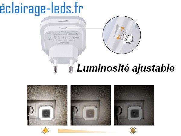 Veilleuse LED crépusculaire Dimmable sur prise