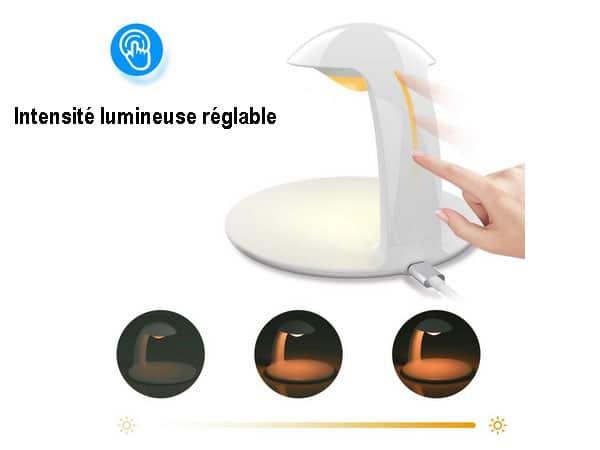 Veilleuse LED Tactile Luminosité Réglable Chargeur Induction