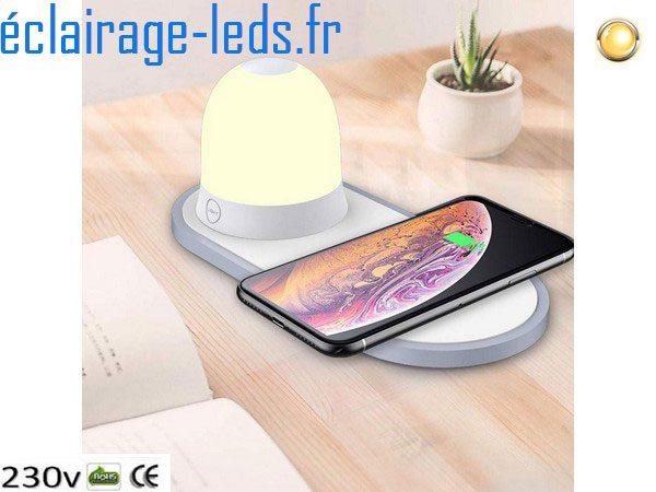 Veilleuse LED avec Chargeur Induction Qi