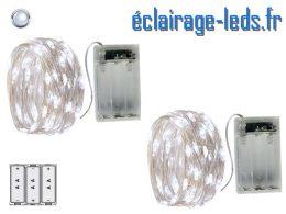 2 Guirlandes LED sur pile 5m décoration Blanc