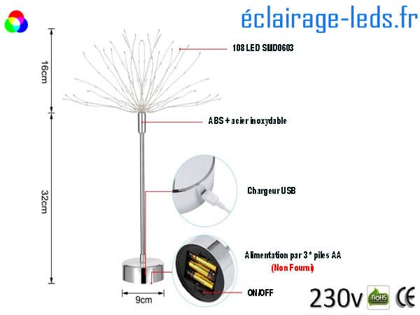 Lot de 3 arbres LED RGB 48cm charge via USB