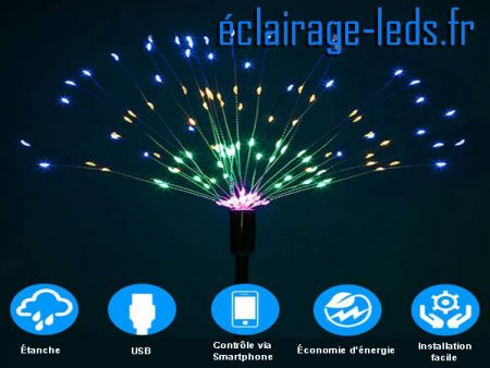 arbre à LED 48cm multi-couleur 108 LED usb