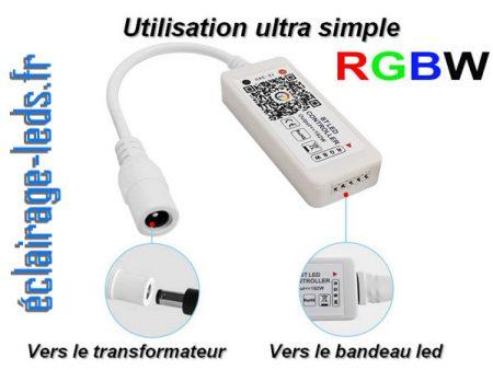 Contrôleur RGB Bluetooth LED RGB + W