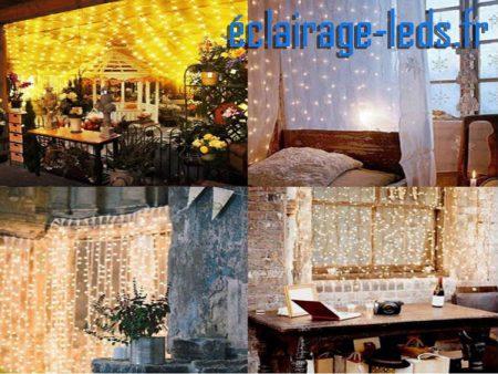 girlande LED 3M blanc chaud Forme de rideau 300 LEDs18w 230v