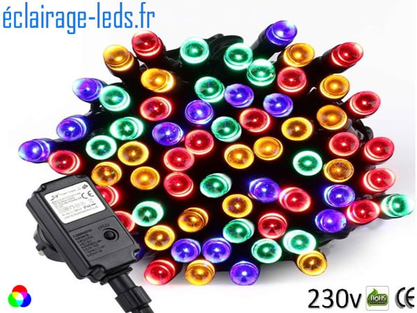 Guirlande LED 10M RGB 100 led IP44 230v
