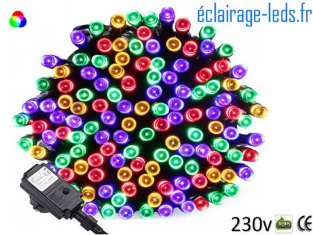 Guirlande LED 20M Multi-couleur 200 led IP44 230v