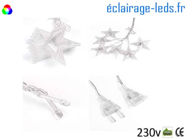 Guirlande LED 12 étoiles RGB de 2m 230v