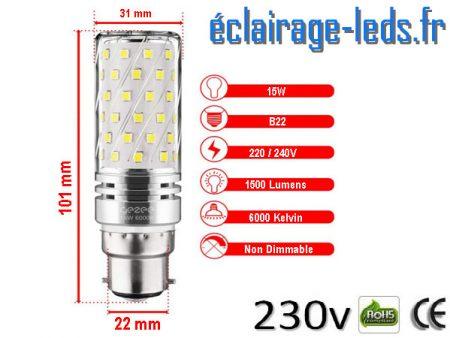 Ampoules LED B22 maïs 15W blanc chaud 230v
