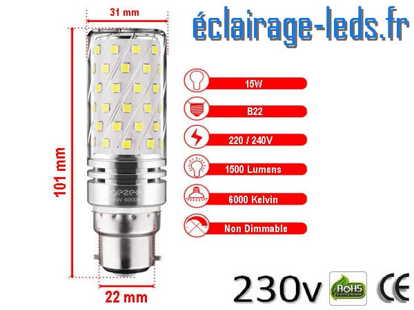 Lot de 4 ampoules LED B22 maïs 15W blanc