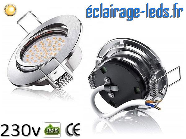 5 Spots led orientable 5w blanc chaud ip44 230v