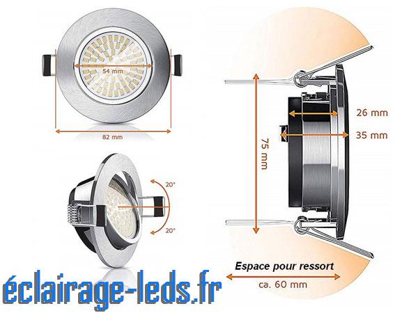 Spots LED encastrable orientable 5w blanc chaud 230v