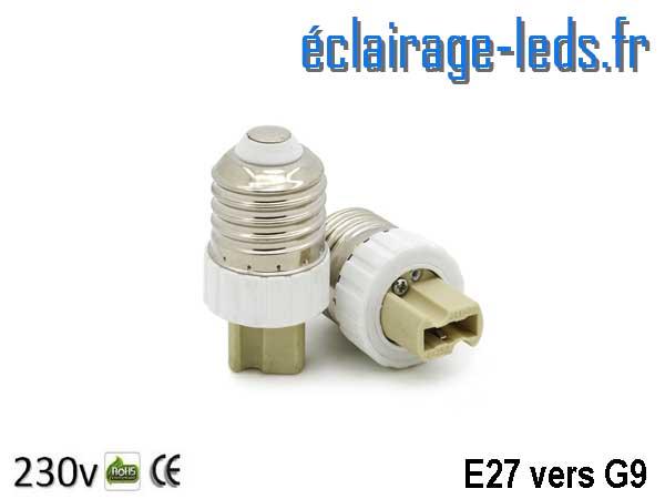 Adaptateur E27 vers Ampoule LED G9