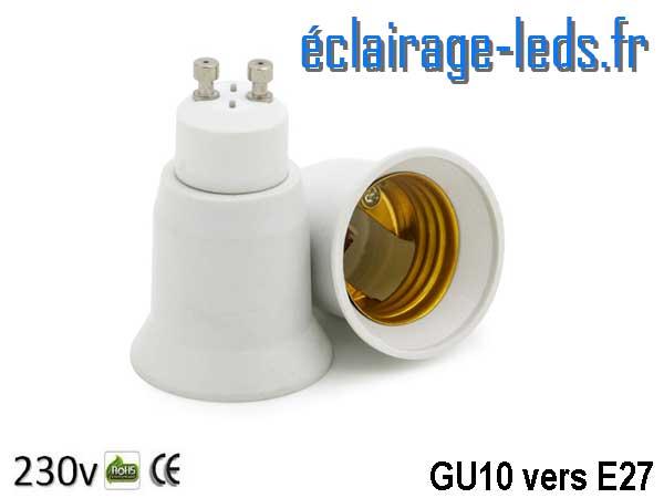Adaptateur Ampoule GU10 vers Ampoule LED E27