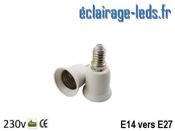 Adaptateur ampoule LED E14 vers Ampoule E27