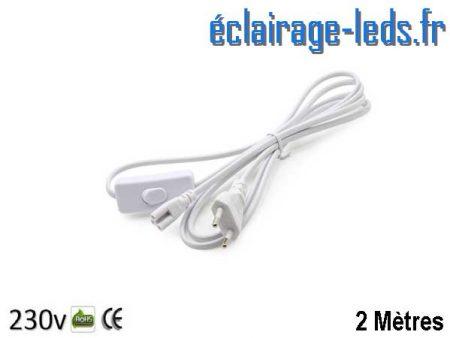 Alimentation 2 mètres sur prise Tube LED T8 et T5 avec interrupteur