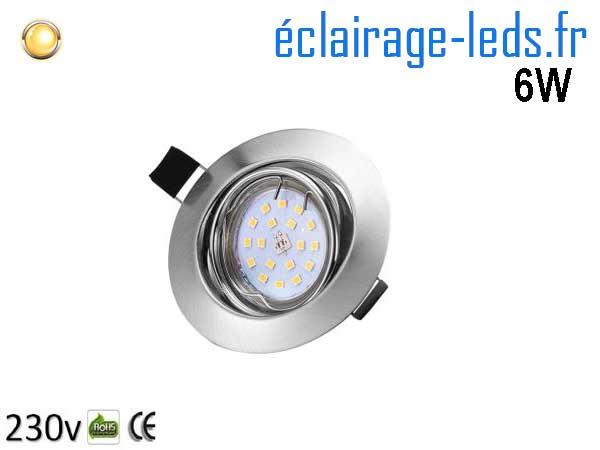 Kit 1 Spot LED GU10 Blanc Chaud encastrable chrome