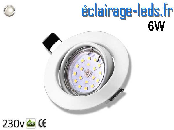 Spot LED GU10 Blanc Naturel encastrable blanc orientable