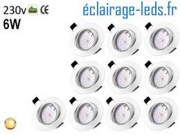 Spots LED GU10 blanc chaud Orientable ∅ 70mm