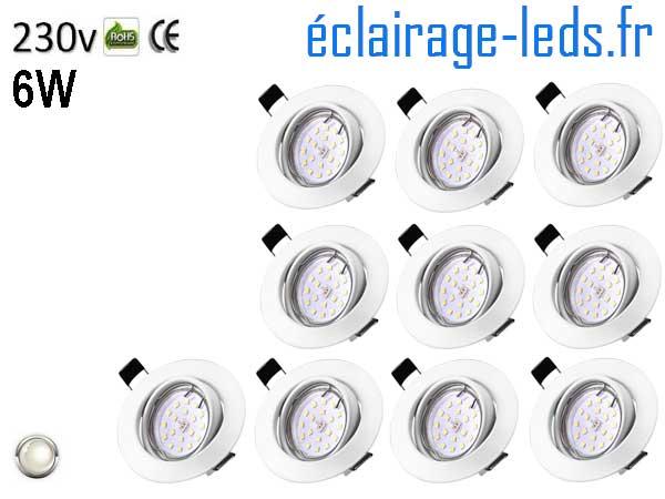 Spots LED GU10 blanc naturel Orientable ∅ 70mm