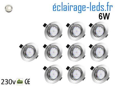 Kit 10 Spots LED GU10 Blanc Naturel encastrable chrome