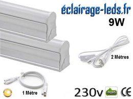 Kit tube LED T5 9W 57cm blanc chaud 230v raccord 1 Mètre